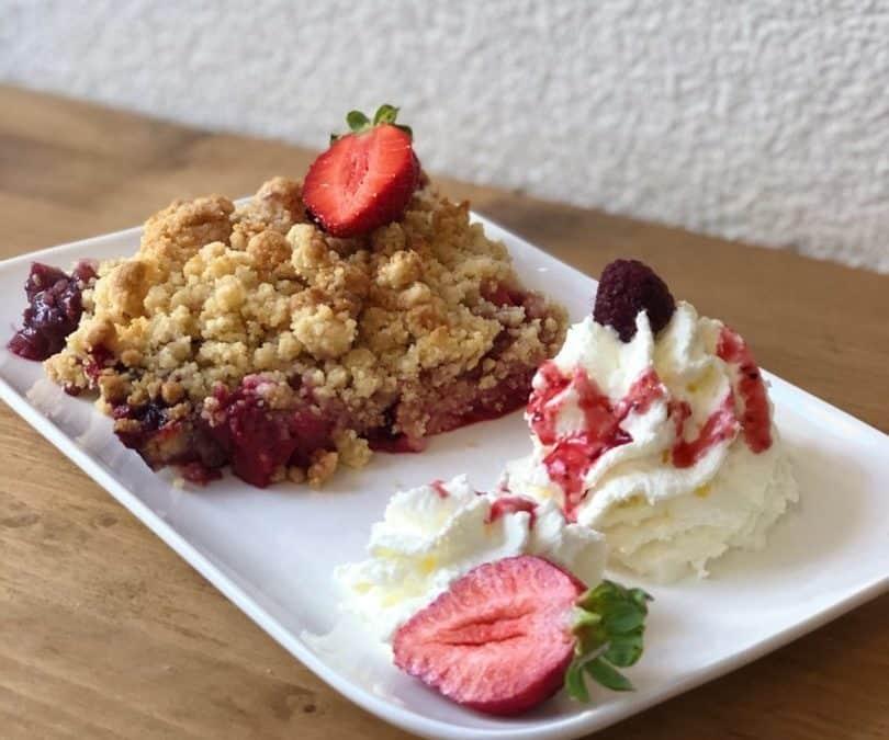 gâteau de la semaine : crumble pommes framboises